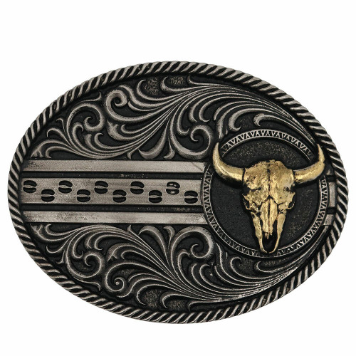 Filigree Dusk Cattle Road Attitude Belt Buckle By Montana Silversmiths A874