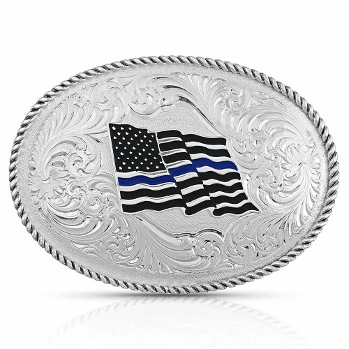 Thin Blue Line Flag Belt Buckle By Montana Silversmiths 1340TBL