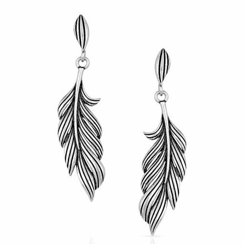 Frayed Singleton Feather Earrings By Montana Silversmiths ER4906