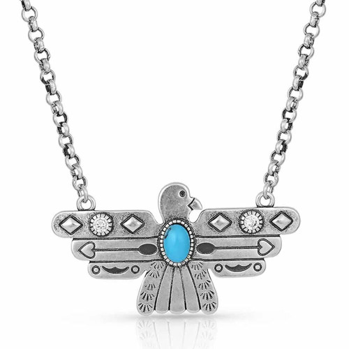 Rising Above Thunderbird Turquoise Necklace By Montana Silversmiths NC4905