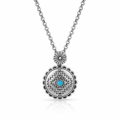 Center of the Storm Turquoise Necklace By Montana Silversmiths NC4901