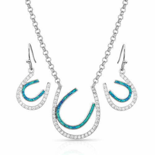Tipping Luck Sparkly Horseshoe Jewelry Set By Montana Silversmiths JS4921