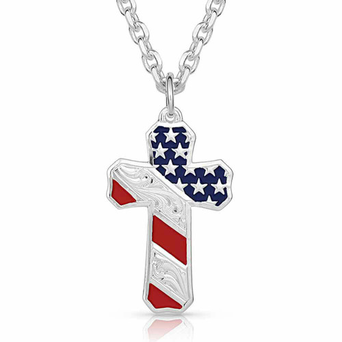 Born In the USA Patriotic Cross Necklace NC3771