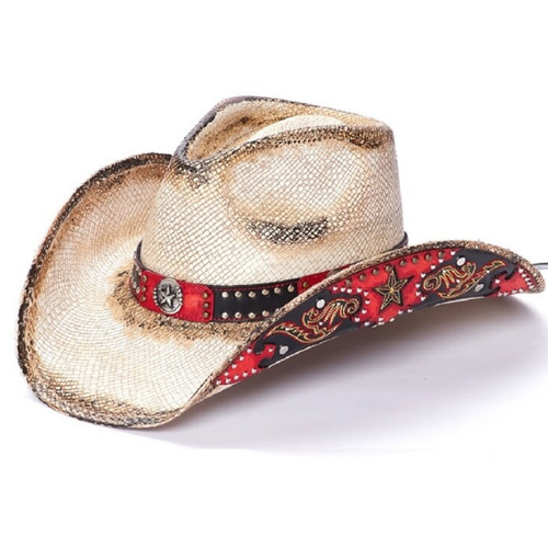 Star Red Straw Western Hat by California Hat Co CA-2008