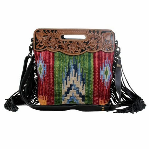 Jardin Multicolored Hand-Tooled Bag S-3057 by Myra Bags