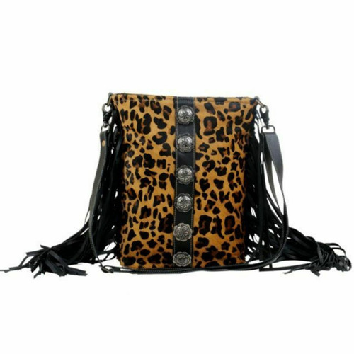 Cool Pool Hair On Leopard Fringe Bag S-2851