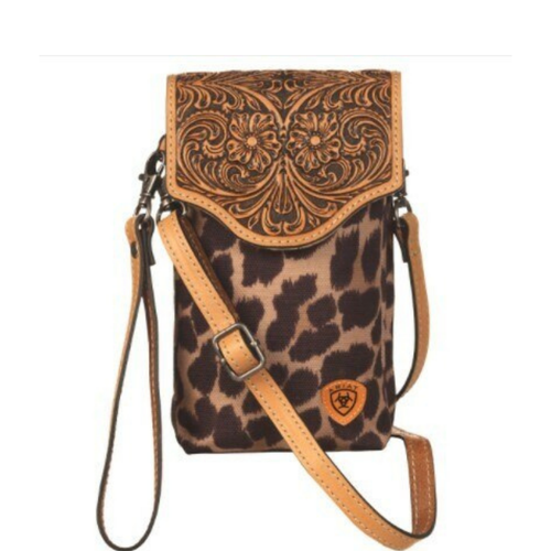 Ariat Tooled Leather Leopard Print Cell Phone Crossbody A770001808