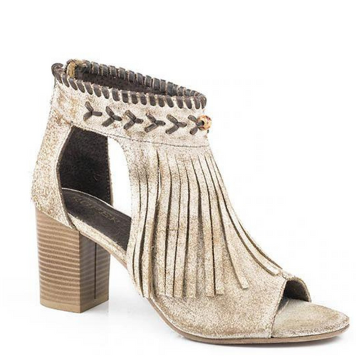 Vintage Beige Leather Sandal With Fringe By Roper 09-021-0946-1292 TA