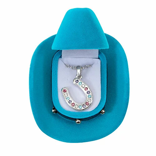 Multi Colored Horseshoe Necklace with Hat Gift Box by AWST JN143MU