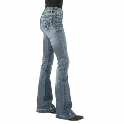 Women's Stetson High Rise Flare Jean Cactus Embroidery 11-054-0921-2403 BU