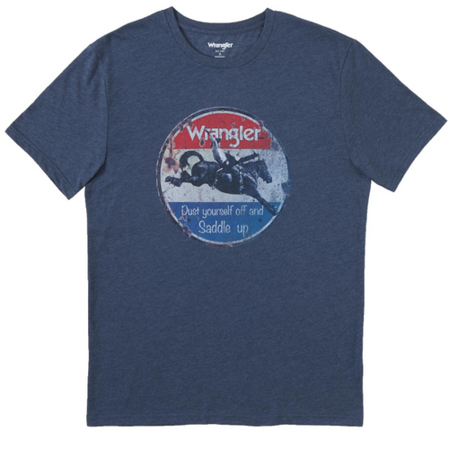 """Men's Navy """"Dust Your Self Off"""" Western T-Shirt By Wrangler MQ6178N"""