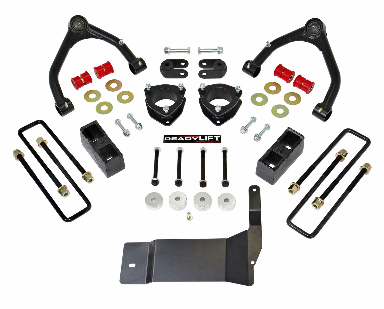 """Readylift 4.0"""" STRUT EXTENSION-3.0"""" REAR BLOCK-TUBE ARM-FOR USE W FACTORY ALUMINUM SUSPENSION 2014-2017 CHEVROLET/GMC 1500"""