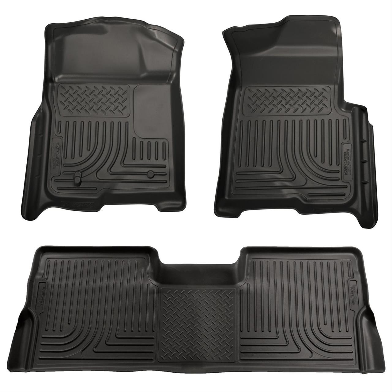 08-10 FORD SD CREW CAB W/O MANUAL 4X4 TRANSFER CASE WEATHERBEATER FRONT & 2ND SEAT FLR LNR 3PC BLACK