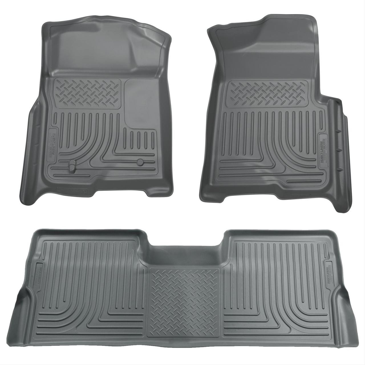 08-10 FORD SD CREW CAB W/O MANUAL 4X4 TRANSFER CASE WEATHERBEATER FRONT & 2ND SEAT FLR LNR 3PC GREY