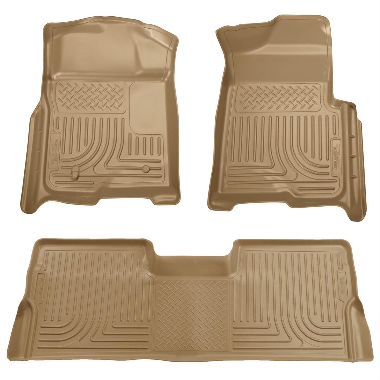 08-10 FORD SD CREW CAB W/O MANUAL 4X4 TRANSFER CASE WEATHERBEATER FRONT & 2ND SEAT FLR LNR 3PC TAN