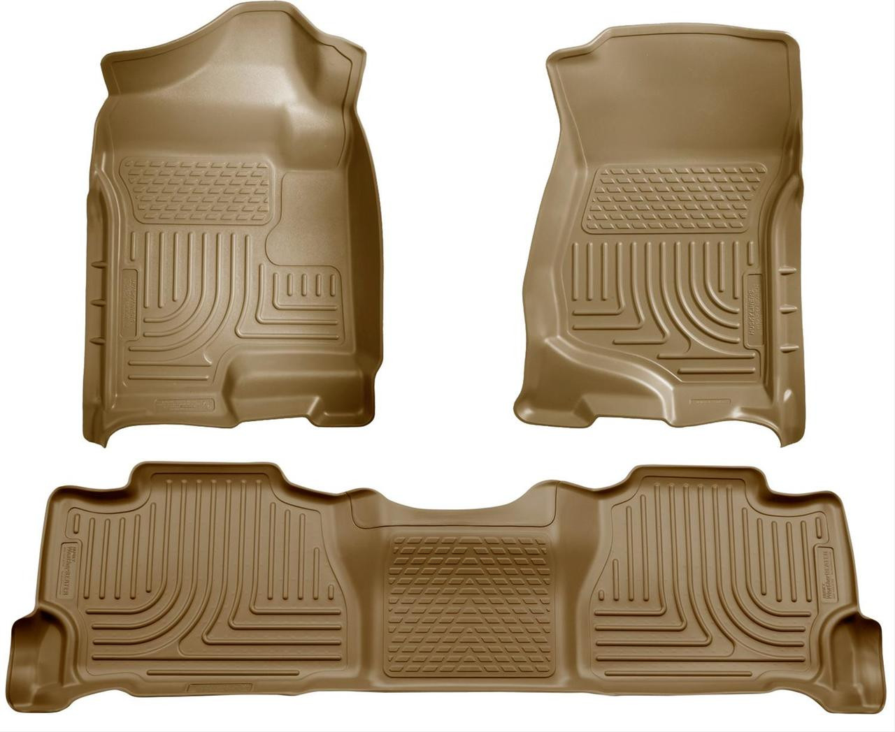 07-14 ESCALADE/TAHOE/YUKON(NOT HYBRID)W/2ND ROW BUCKET FRONT & 2ND SEAT FLOOR LINER TAN