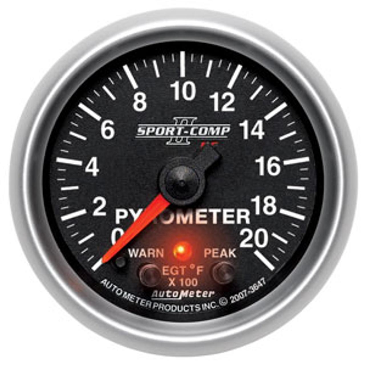 Autometer 2-1/16in PYROMETER KIT, 0-2000`F, FSE SPORT COMP II W/ PRO CONTROL