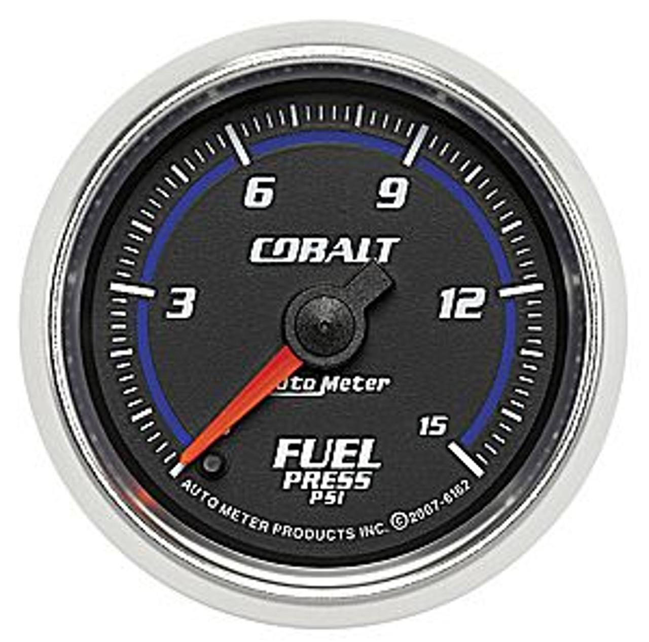 Autometer 2-1/16 In., Full Sweep, Fuel Press, 0-15 Psi, Cobalt