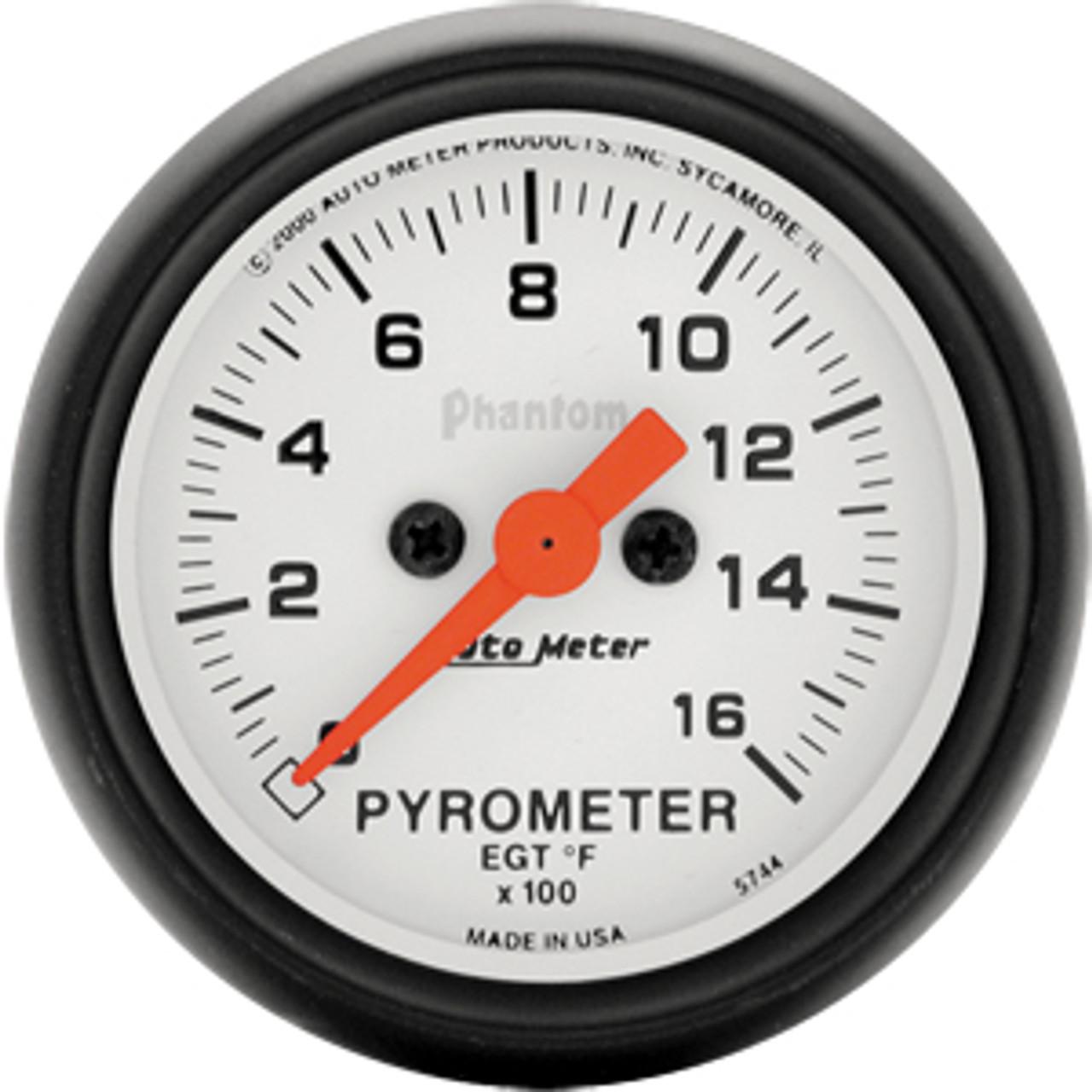 Autometer Phantom E.G.T. Kit 0-1600`F, Full Sweep Street 2In.