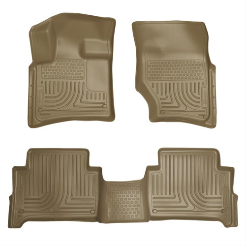 07-15 AUDI Q7 FRONT & 2ND SEAT FLOOR LINERS TAN
