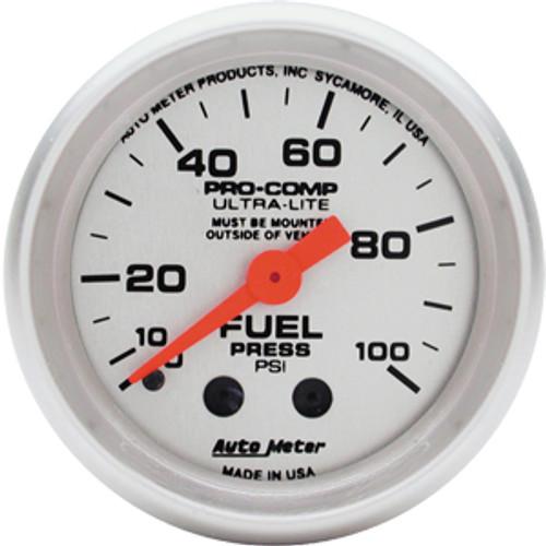 Autometer Ultra-Lite Fuel Press, 0-100 Psi Mech, 2In.