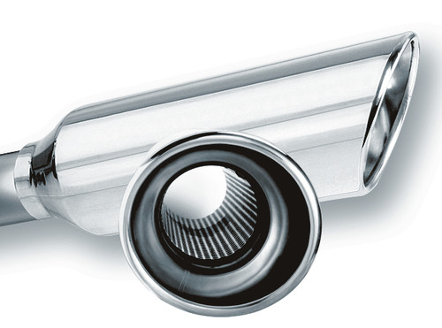 """Borla 2.25"""" Inlet 4"""" Round Rolled Angle Cut Resonated x 13"""" Long Exhaust Tip"""