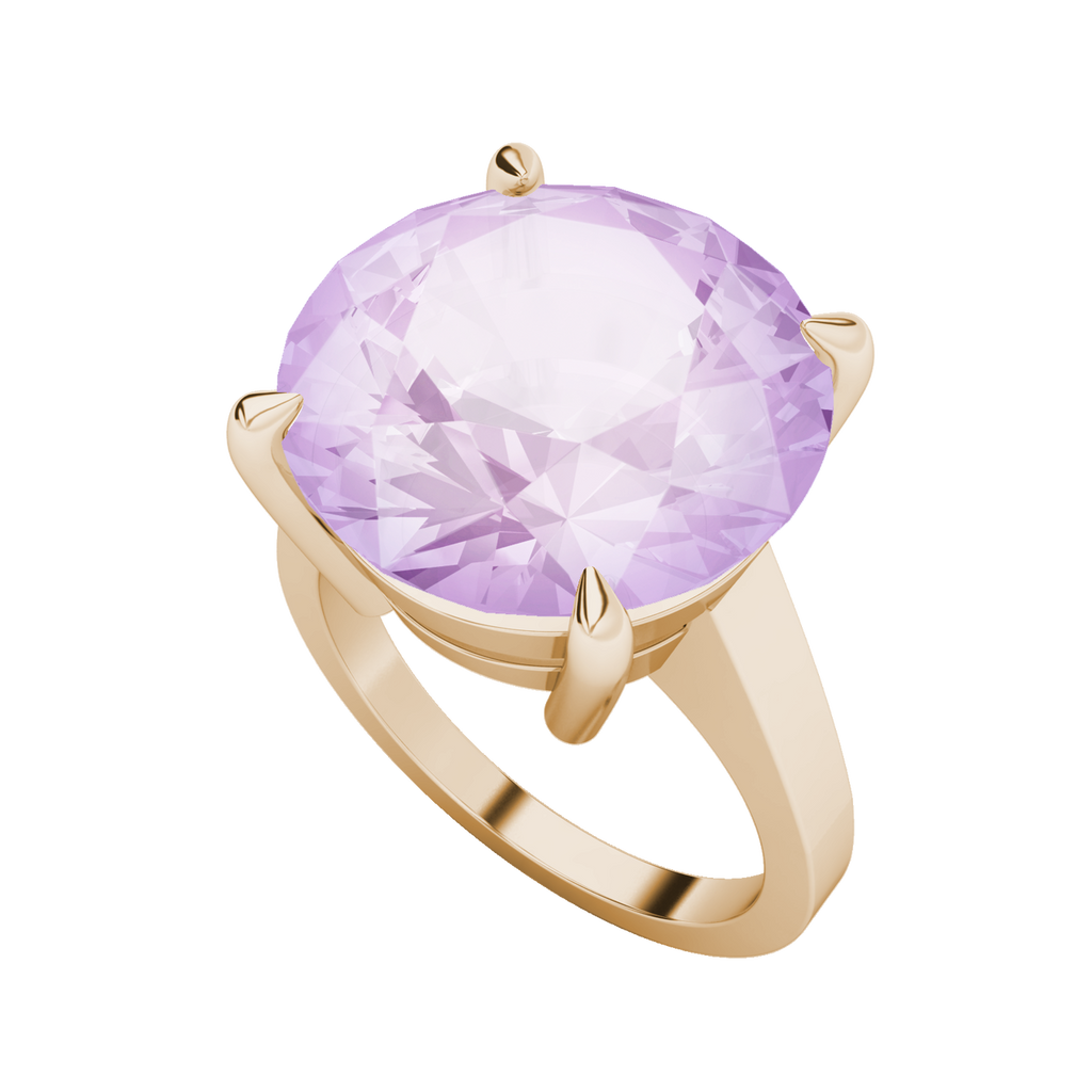 Round Brilliant Cut Pink Amethyst Cocktail Ring 9ct Rose Gold