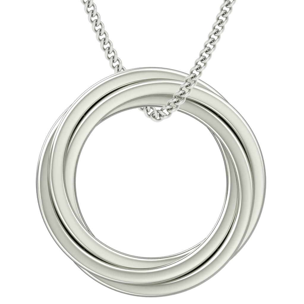 Russian Rings Necklace - the 'Catherine' - 9ct White Gold