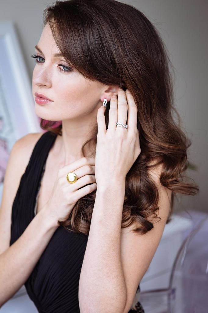 Diamond Woven Earrings 9 Carat Yellow Gold