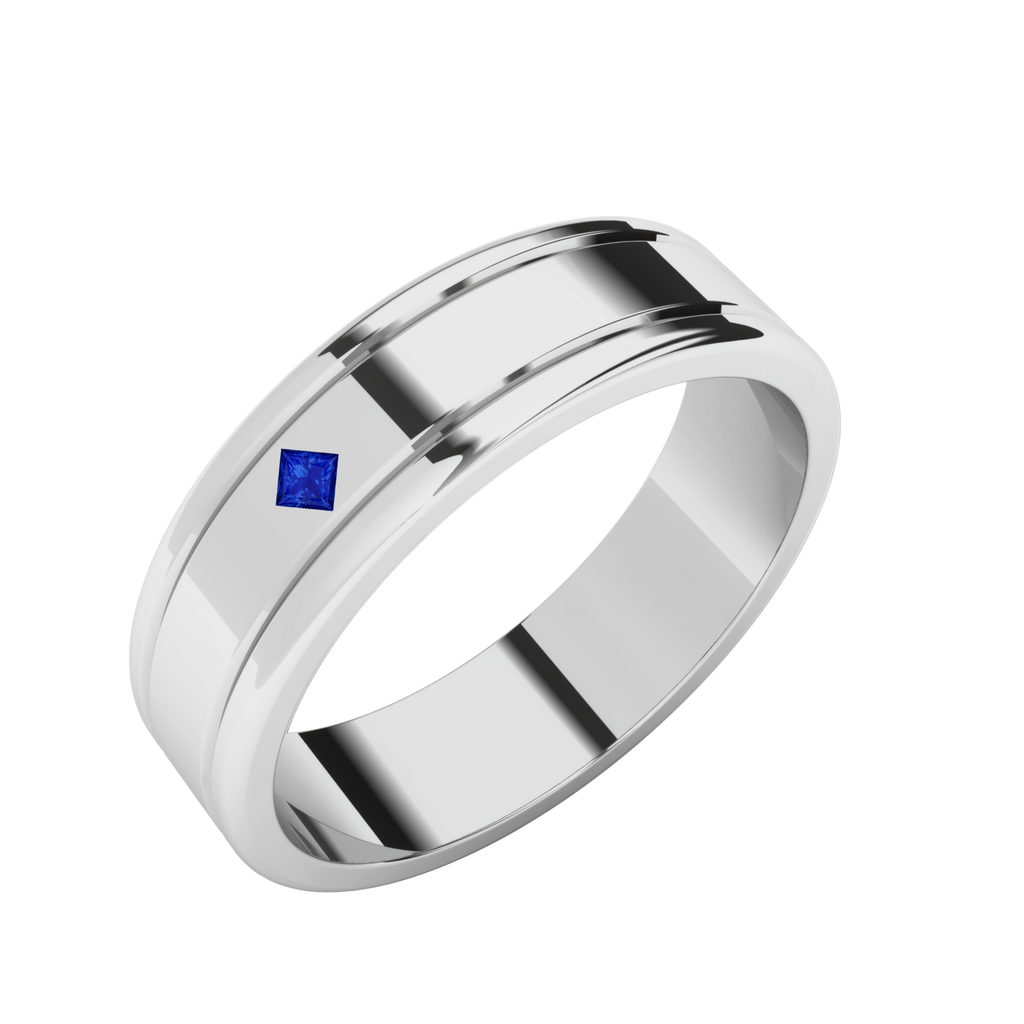 Sapphire Men's Wedding Ring - 9ct White Gold