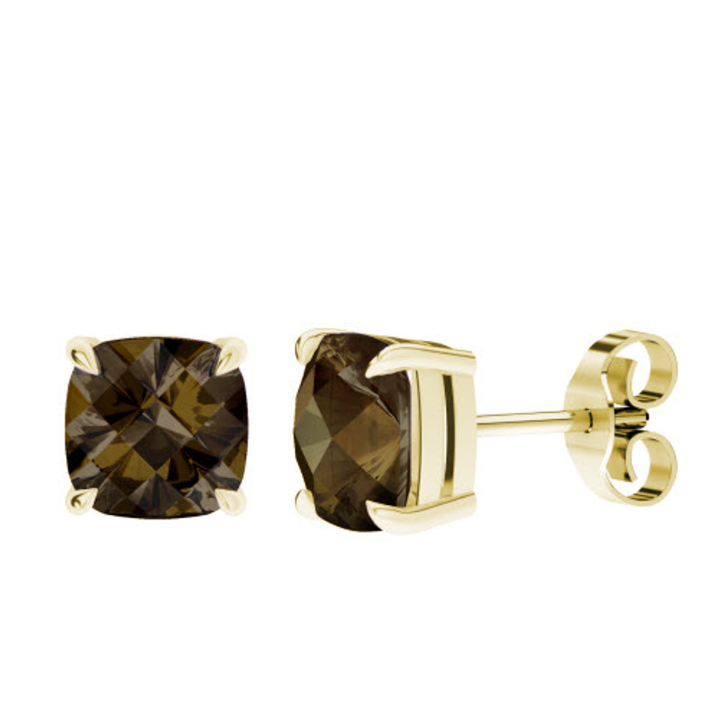 stylerocks-smoky-quartz-cushion-checkerboard-yellow-gold-stud-earrings