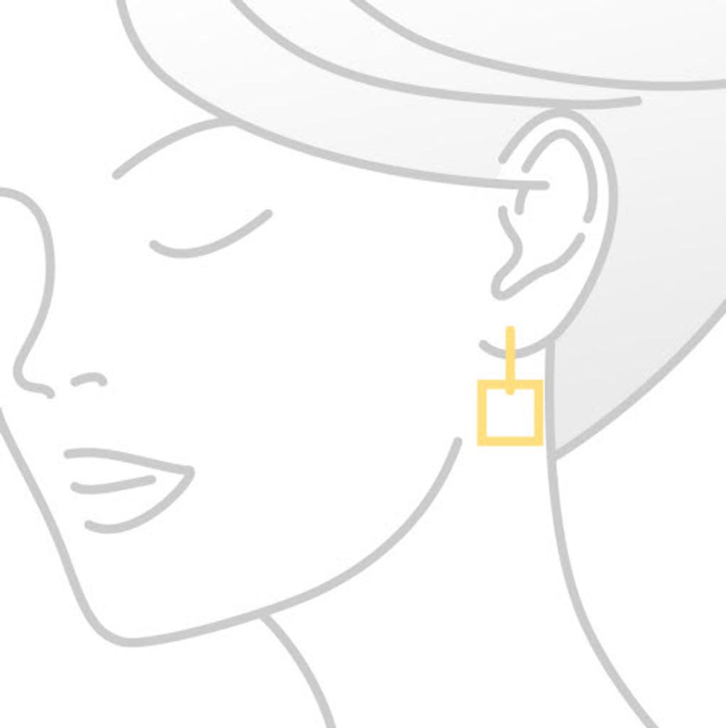 White Quartz Yellow Gold Checkerboard Drop Earrings
