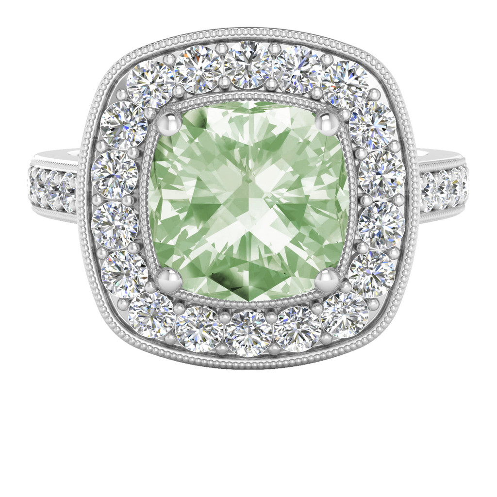 Cushion Diamond Halo Ring with Green Amethyst (White Gold)