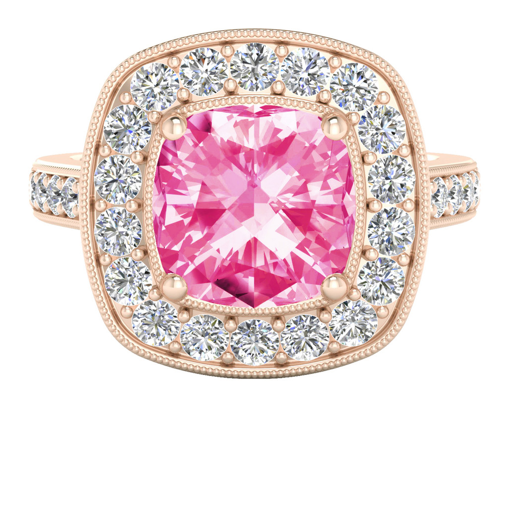 Cushion Diamond Halo Ring Spinel (Rose Gold)