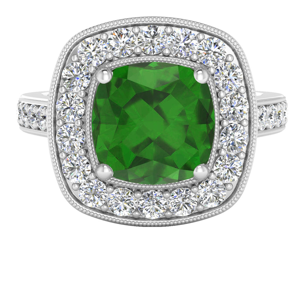 White Gold Cushion Tourmaline Diamond Halo Ring