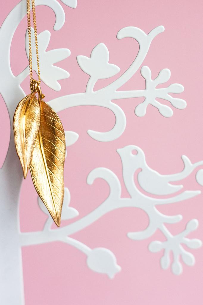 Terre-Et-Mer Two Leaf Necklace (Rose Gold)