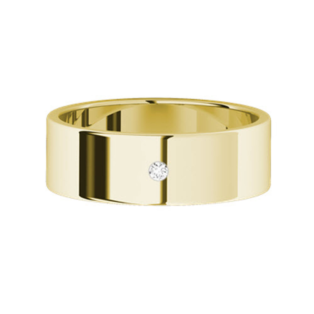 Round Brilliant Cut Diamond Wedding Ring (Yellow Gold)