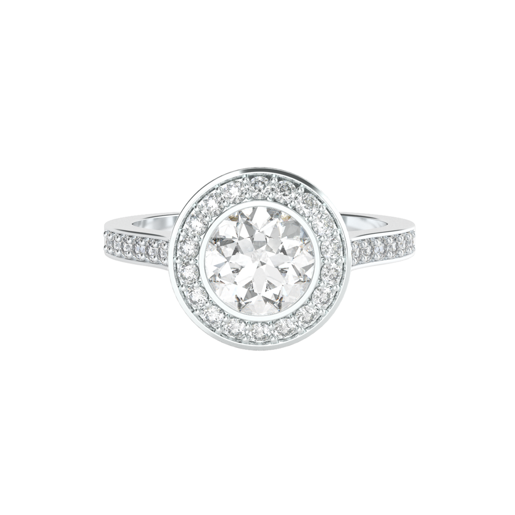 brilliant-cut-diamond-1carat-bezel-set-halo-engagement-ring-14carat-white-gold-diamond-band-stylerocks