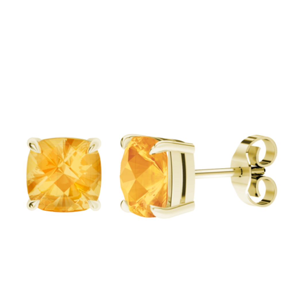 Cushion Checkerboard Citrine Stud Earrings 9ct Yellow Gold
