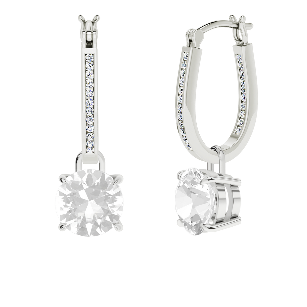 White gold and diamond narrow hoops with round brilliant cut diamonds