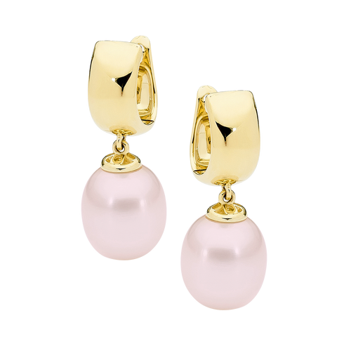 9ct Yellow Gold Pink Drop Pearl Earrings