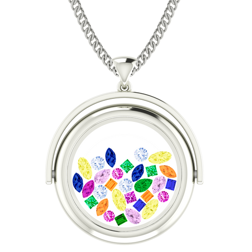 Rainbow Gemstone Glass Pendant 9 Carat White Gold