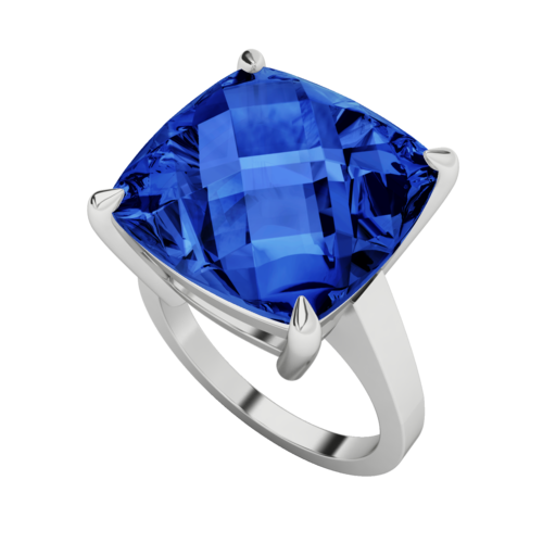 Rings - Women- Silver No Plating High shine Cushion Checkerboard Gemstone Cocktail Ring with  with stone Cushion checkerboard ring - sapphire (hy)