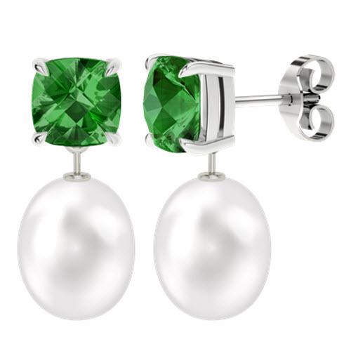 stylerocks-emerald-8mm-cushion-checkerboard-studs-with-drop-pearl-9ct-white-gold-earrings