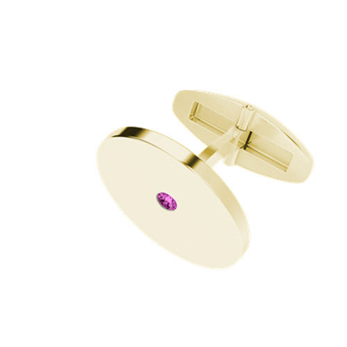 stylerocks-yellow-gold-pink-tourmaline-round-cufflinks