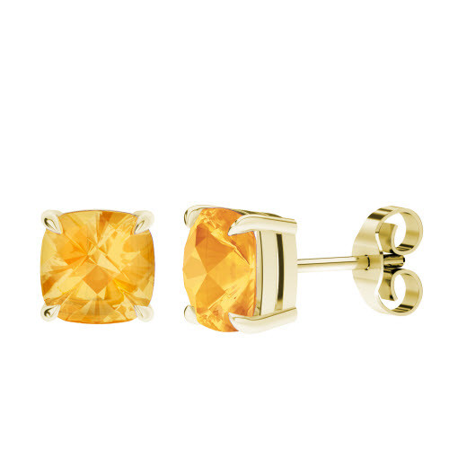 02585c016dc4d Citrine Cushion Checkerboard Stud Earrings 9ct Yellow Gold