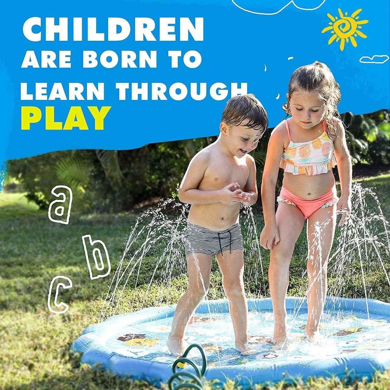 Kiddie Pool, Baby Pool Splashin/'kids 3 in 1 Inflatable Sprinkler Pool for Kids