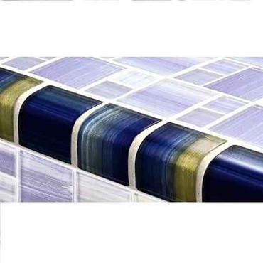 Pool Tile Step Trim - Watercolor Series Glass Blue Mix Color