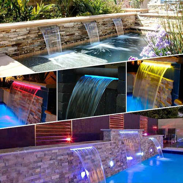 DG Pool Products Waterfall Pool Fountain 24 RGB LED Pool Fountain 7 Color Remote Changing Spillway for Sheer Descent(2 Connector Choose)