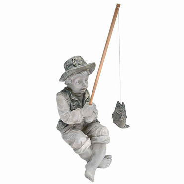 Design Toscano Design Toscano NG32122 Frederic The Little Fisherman of Avignon Boy Fishing Garden Statue, two tone stone